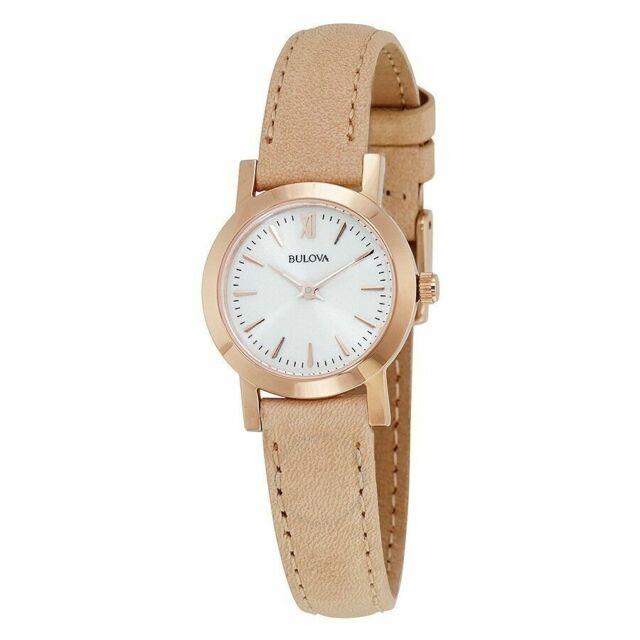 8795240f9 Bulova Quartz MOP Dial Rose Gold Case Beige Leather Later Ladies Watch  97L148