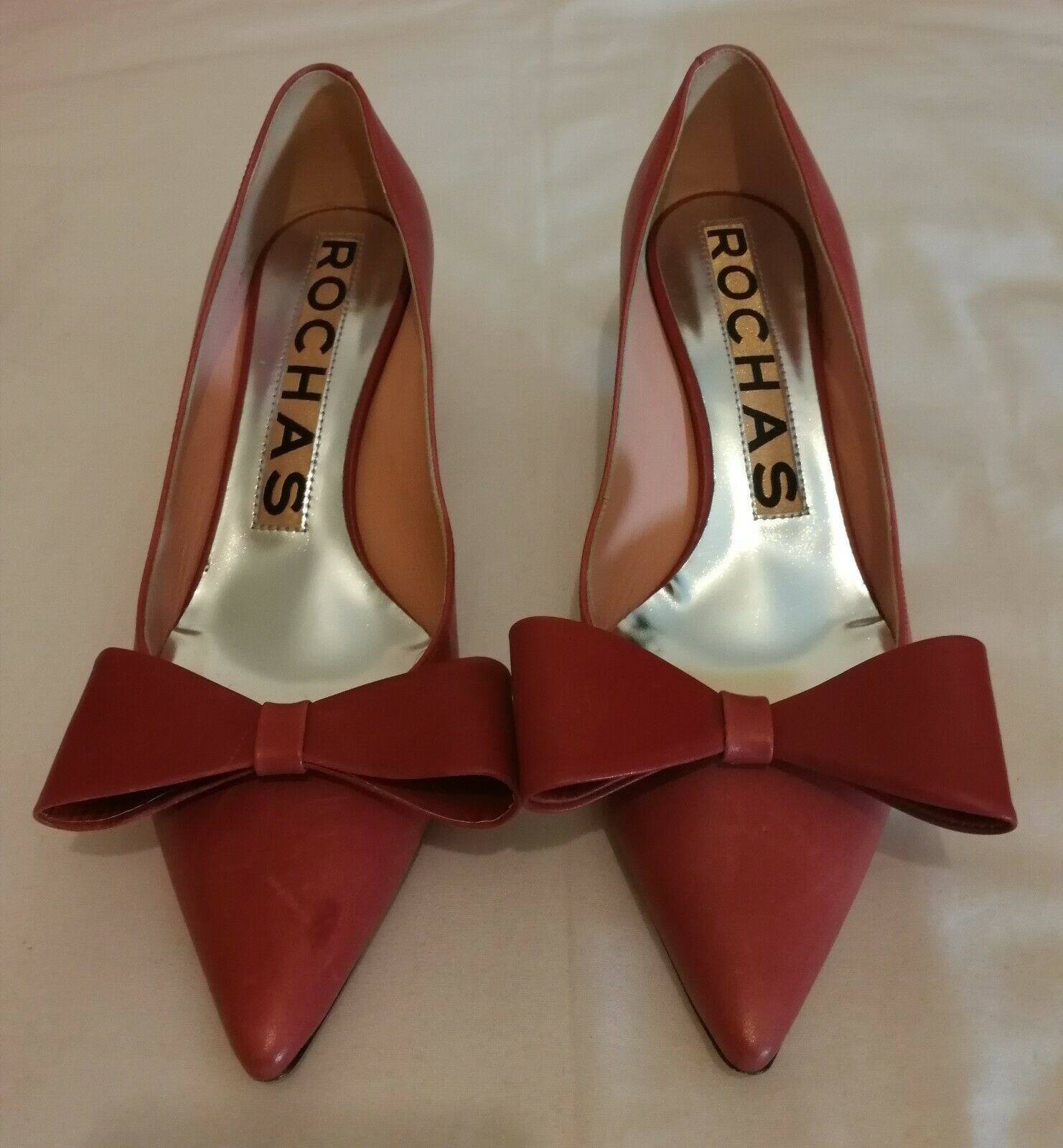 Rochas Bow Pointed Toes heels Pumps Leather schuhe Coral uk 5 eu 38