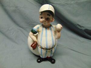 "Vintage Relpo Japan ceramic Vase / Planter of Baseball player ball & mitt 8"" x 5"