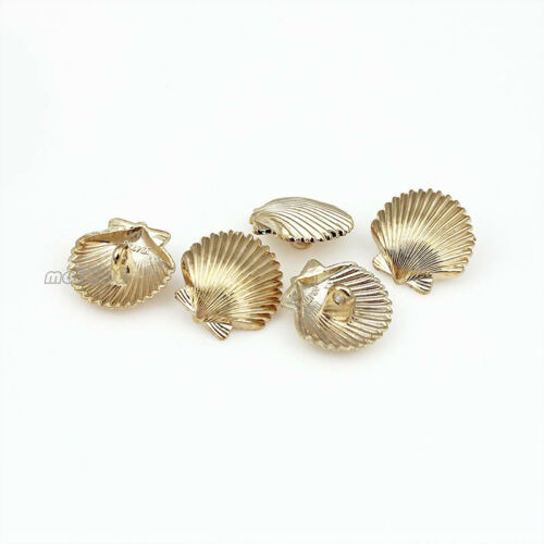 6PCS Novelty Sea Shell Metal Shank Button Golden Vintage Style Coat Fashion 18mm