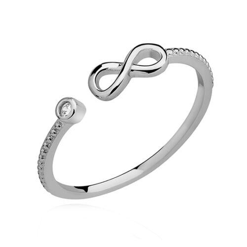 Infinity plata esterlina 925 Anillo Tamaño J K L M N O P Q Midi Top dedo claro CZ