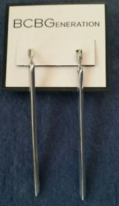 BCBGeneration-Silver-tone-3-034-long-3-sided-bar-drop-post-earrings
