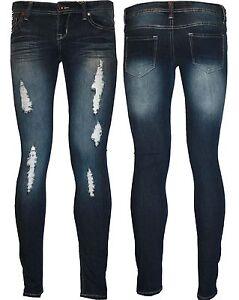 Womens Ladies Stretch Faded Ripped Slim Fit Skinny Denim Jeans ...