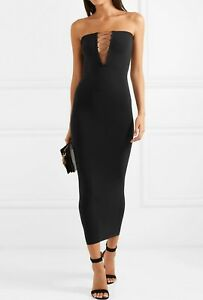 75e1febfe0e8 WOLFORD GRACE Lace-up Black convertible Dress S NWB NWT Fatal tube ...