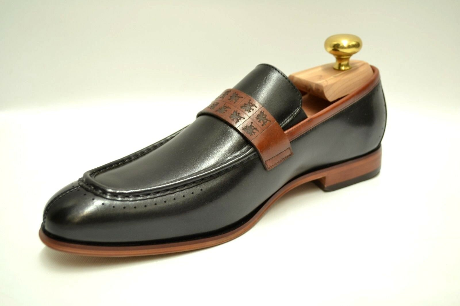 Hombre Stacy Adams Sussex Negro/Cognac Slip On 25179-969 Dress Zapatos 25179-969 On 0f8053