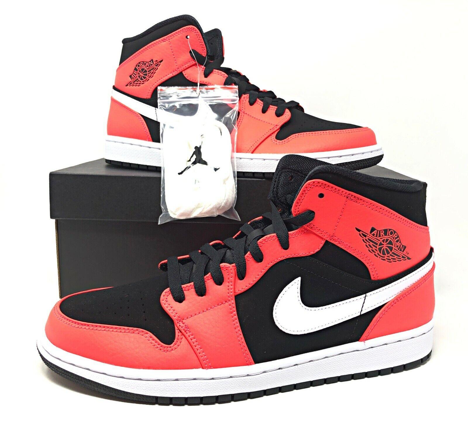 Nike Air Jordan 1 Mid BlackInfrared 23 White Mens Basketball Shoes 554724 061