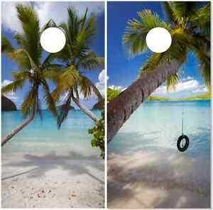 Bag Toss wrap BEACH Cornhole Board SINGLE PALM TREES VINYL DECAL