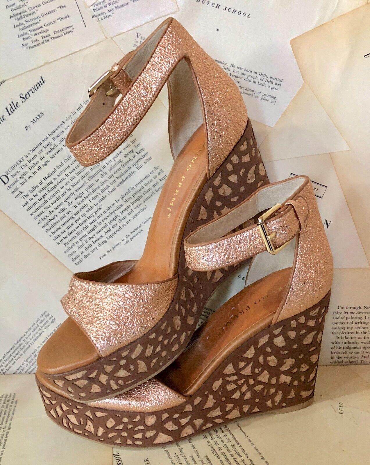 NEW Bruno Premi pinkgold Brown Cork Platform Wedge Sandal 39   9