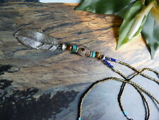free people Boho  fine beaded necklace with Leopard Agate & Feather pendant
