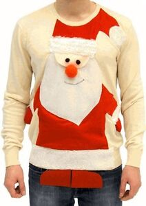 Adult-Beige-Jumper-Ugly-Christmas-Sweater-Tacky-Holiday-3D-Santa-Claus-Full-Body