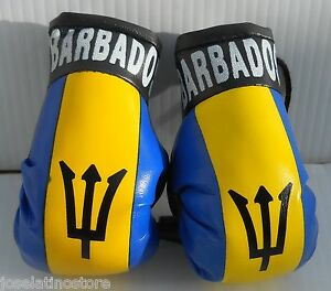 "Barbados Mini Boxing Gloves 3.5"" x 2 Best Quality and Fabric For Ornaments Only!"