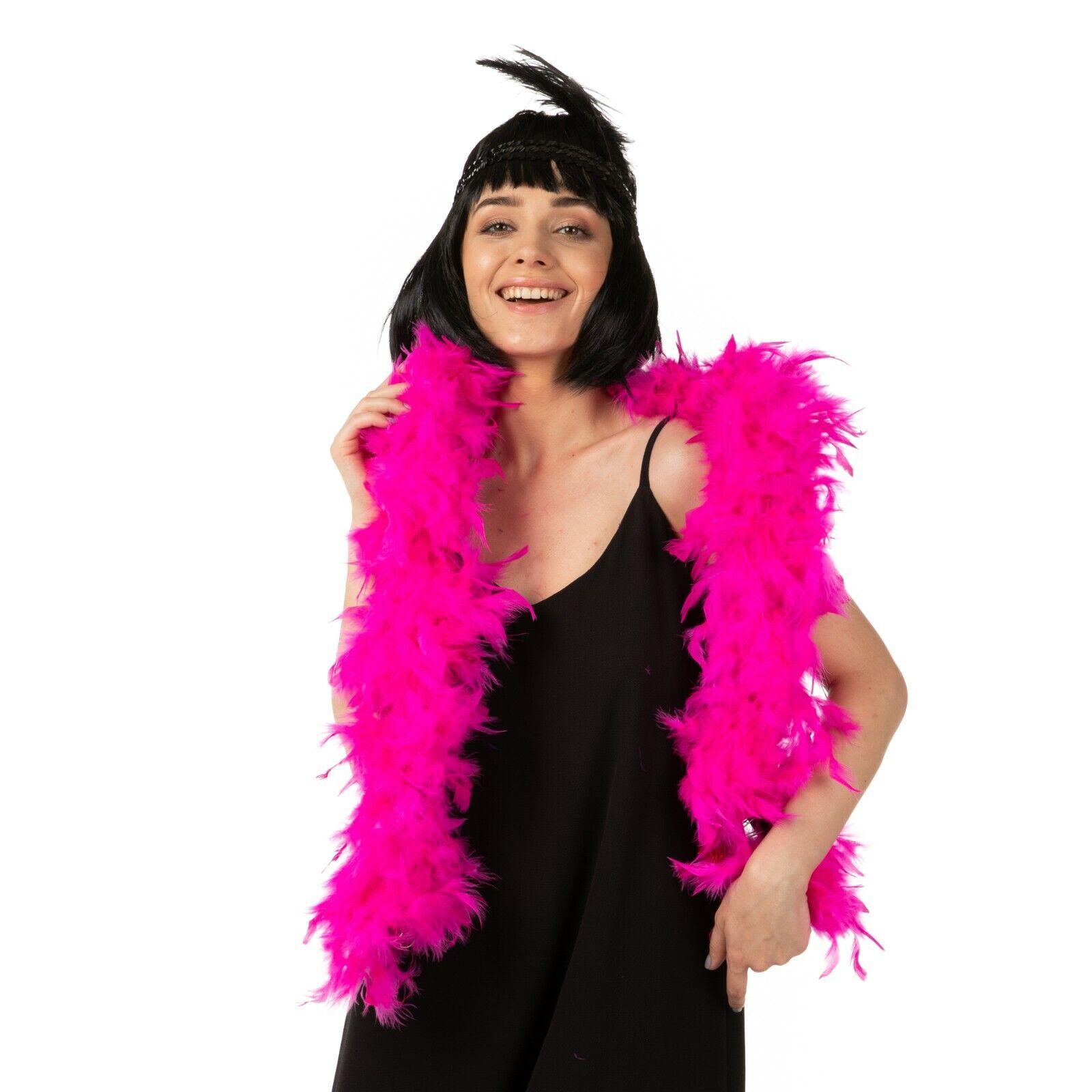Black Red Feather Boa Garçonne 80 g Saloon Burlesque