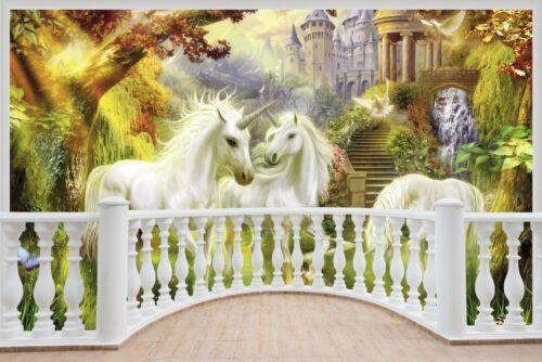 Énorme 3D balcon fantasy Unicorn Castle Wall Stickers Papier Peint S32