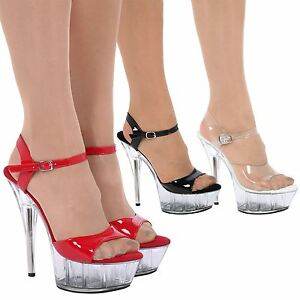 aedb6f3d729 Image is loading Charmaine-Womens-Clear-Stilettos-High-Heels-Platforms- Ladies-