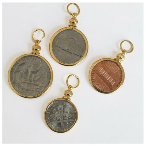 Coin Holders Bezel USA Penny Nickel Dime Quarter Set of 4 Gold Plated