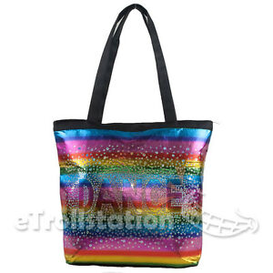 Gymnastics-Ballet-Colorful-Rainbow-Shimmer-Dance-Tote-Bag-Holographic-Sequin-NEW