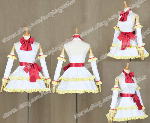 Fairy Tail Cosplay Costume Wendy Marvel Cute White Dress With Yellow Ruffled Hem
