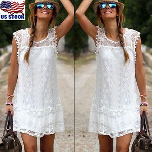 Women-Summer-Short-Mini-Dress-Lace-Floral-Sleeveless-Evening-Party-Sundress-US
