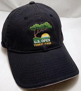 TORREY PINES US OPEN hat cap 2008 marshal usga black adjustable golf ... 02c616d21eb5