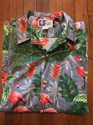 RJC Mens Retro Flamingo and Palm Tree Hawaiian Shirt