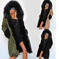 Ladies Warm Winter Faux Fur Coat Overcoat Hoodie Parka Coat Long Jacket Outwear