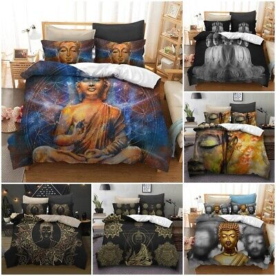 Single Bed Buddha Oriental Duvet Quilt Cover Retro 3D Bedding Set ONLY £7.99