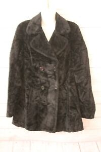 United-Colors-Of-Benetton-Womans-Coat-Black-Faux-Fur-Double-Breasted-SZ-Med-VTG