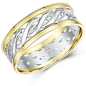 9ct Yellow White Gold Two Colour Celtic Wedding Ring Bands 6mm