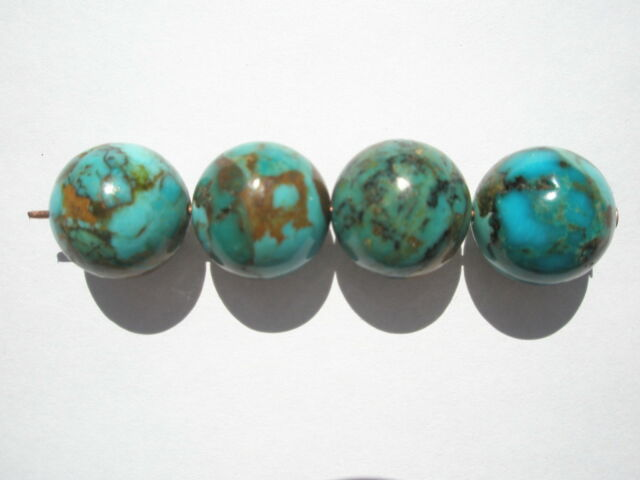Genuine Kingman Turquoise Round Gemstone Beads - 12mm - 4
