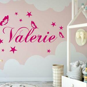 Wandtattoo AA130 Kinderzimmer Schmetterlinge Namen Sterne Mädchen ...