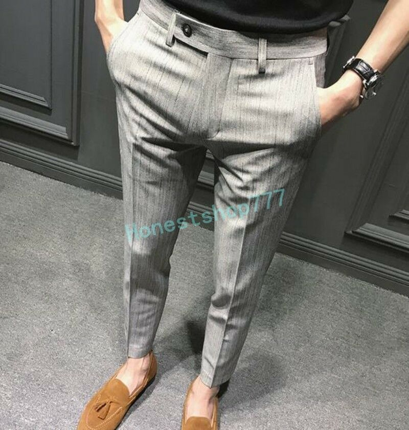 Mens Fit Casual Formal Dress Cropped Pants Retro Striped Slim Mid Rise Trousers