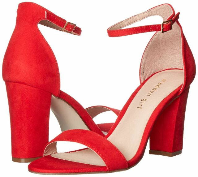 91dea8cd846 Madden Girl Womens Beella Fabric Open Toe Casual Ankle Strap Red ...