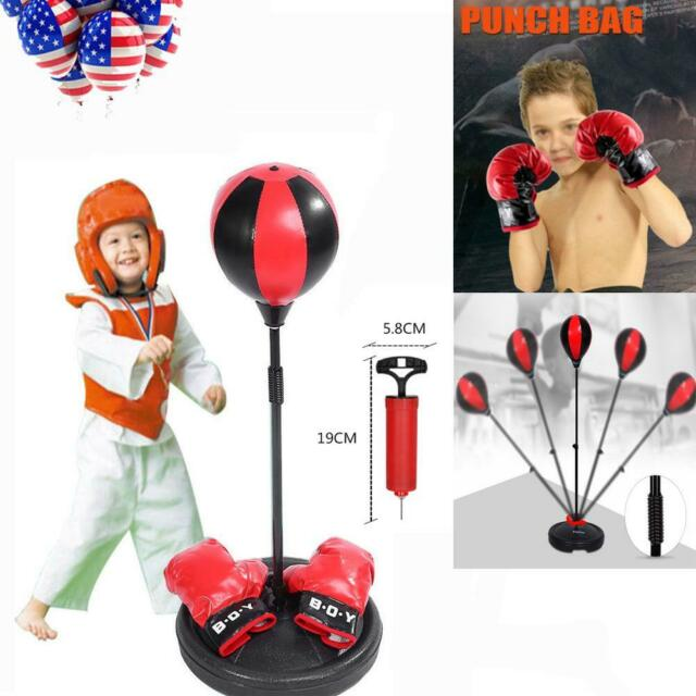 Kids Punching Ball Bag Boxing Punch Exercise Sports Set With Gloves Us