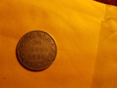 1894 Newfoundland 20 Cent Twenty Cent Silver Coin Rare.