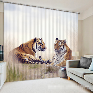 3D dos Tigres 35 Cortinas de impresión de cortina de foto Blockout Tela Cortinas Ventana Reino Unido
