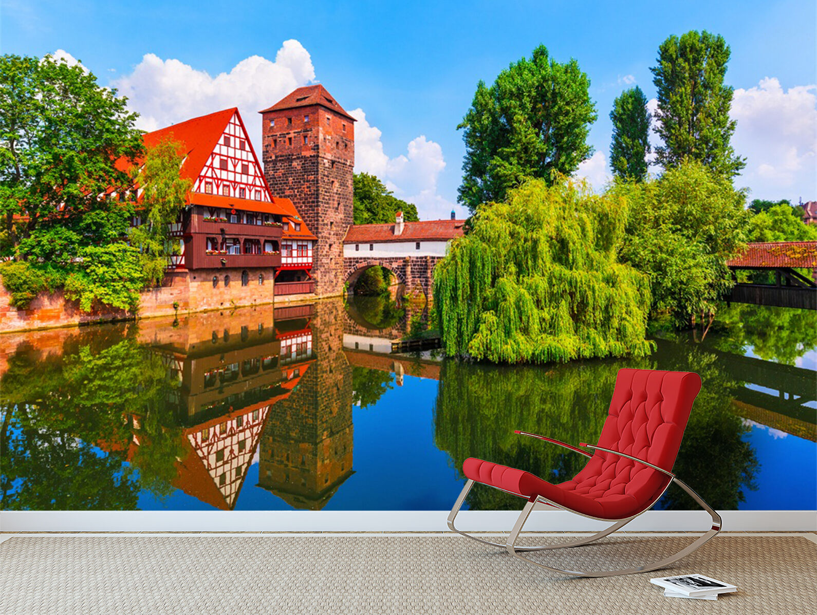 3D lake city garden Wall Paper wall Print Decal Wall Deco Indoor wall Mural