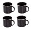 4 x Enamel Cups BLACK Tin Camping Picnic Tea Soup Drinking Mugs Set of Four LMUG
