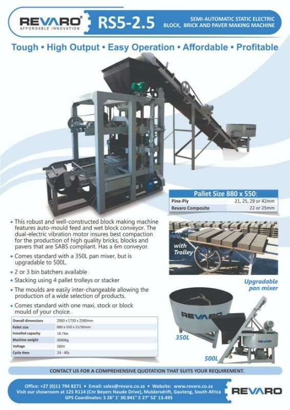 Brick making machine static high output with mixer RS5-2