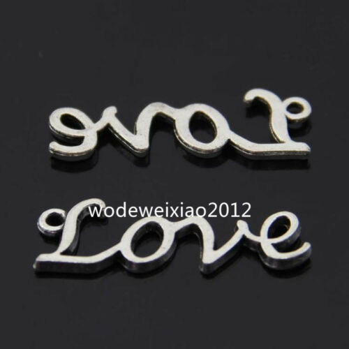 50pc Retro Tibetan Silver love Charm Beads Pendant accessories wholesale R583Q