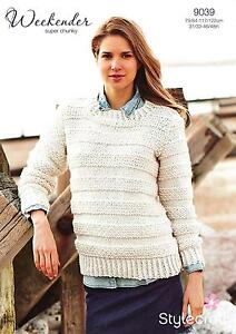 26dafcf591d08a Image is loading Stylecraft-9039-Knitting-Pattern-Ladies-Sweater-in- Weekender-