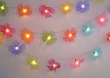 Mixed Colours Nylon Frangipani Style Flower LED Fairy Light String Flowers