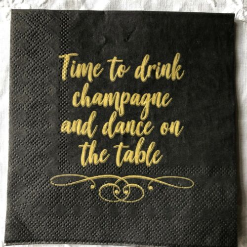 """4 Paper Table Cocktail Napkins for DECOUPAGE Black Gold /""""Time to drink/"""""""