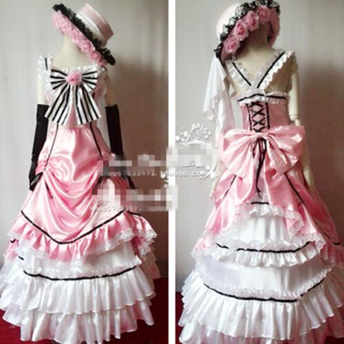 Black Butler Ciel Phantomhive Pink Dress Lolita Pettiskirt Cosplay Custome