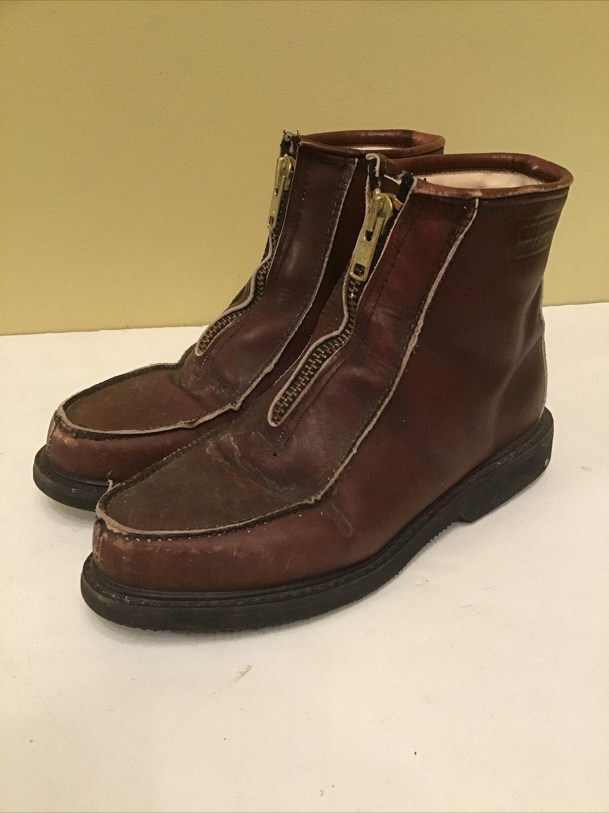 HH Double H Stadium Boots Brown Leather Sz 9D Front Zip Model subzero 5334 USA