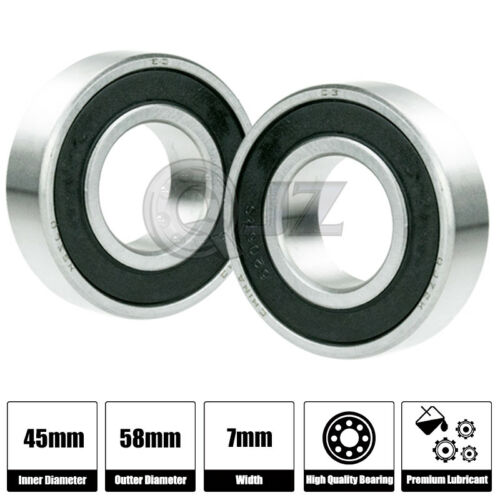 2x 6809-2RS Ball Bearing 45mm x 58mm x 7mm Rubber Seal Premium RS 2RS Shielded
