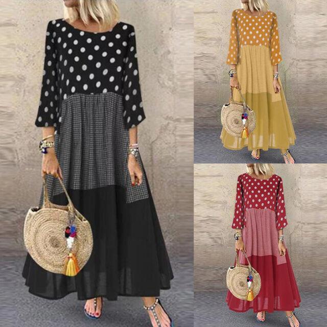 ZANZEA Women Polka Dot Stripe Long Shirt Dress Maxi Dress Full Length Dress  Plus