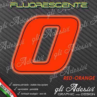 Adesivo Stickers Numero 0 Moto Auto Cross Gara Rosso Fluorescente 5 Cm Styling Aggiornato