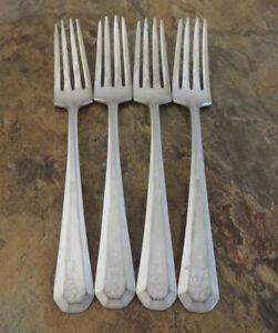IS-Antoinette-Set-of-4-Dinner-Forks-Wm-Rogers-Silverplate-Flatware-Vintage-Lot-A