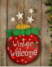 Winter Welcome LED Door Wreath Hanging Sign ORNAMENT Swag Christmas Decor Pick