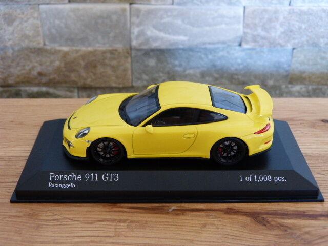 Porsche 911 991 gt3 racingjaune 2013 limitée Minichamps Voiture Miniature 1 43